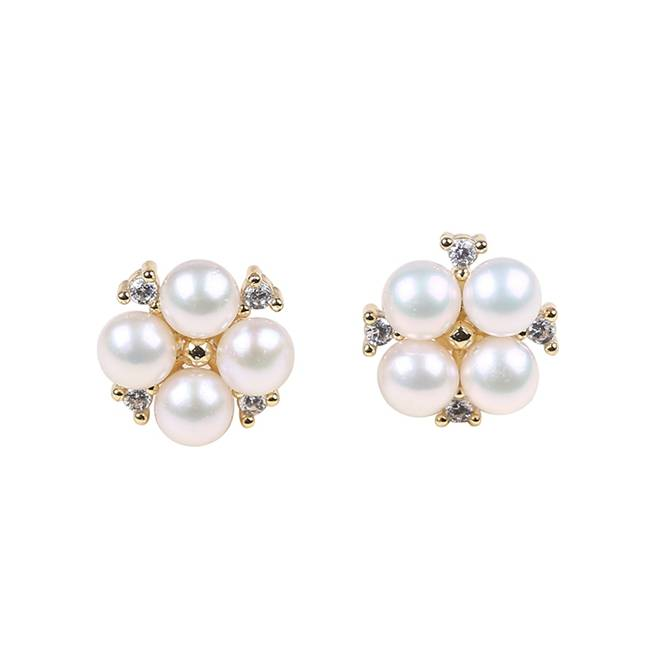 Pearl Earrings, Pearl Cluster Earrings, Pearl Stud Earrings, Gold Pearl Earrings, Bridal Earrings, Wedding Earrings,PE007
