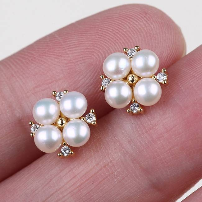 Best quality Mabe Pearl - Pearl Earrings, Pearl Cluster Earrings, Pearl Stud Earrings, Gold Pearl Earrings, Bridal Earrings, Wedding Earrings,PE007 –  Daking Jewellery