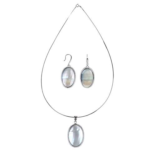 OEM Factory for Aaa Keshi Pearl Strand - 15x25mm AAA Natural Oval White Mabe Pearl 925 Sterling Silver Pendent &Hook Earring Jewelry Set,SET005 –  Daking Jewellery