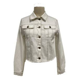 2021 modern jeans buttoned jacket with shirt neck and long sleeves women wholesale