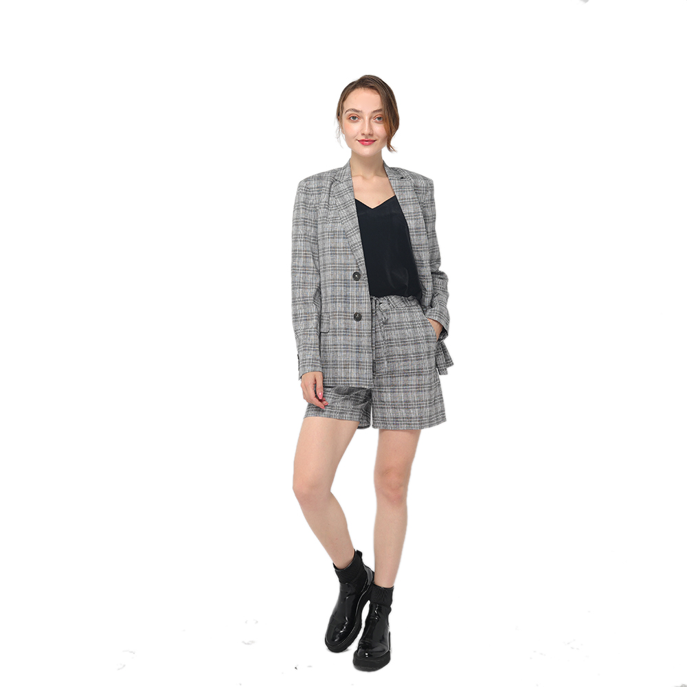 Reliable Supplier Formal Suit - 2020 modern linen checks front fastening with contrast buttons long sleeve oversize blazer women wholesale  – Youchen