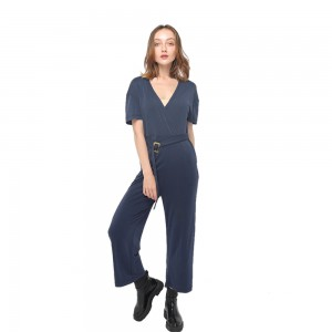 2020 modern skin-friendly modal jumpsuit with V-neck and short sleeve women wholesale