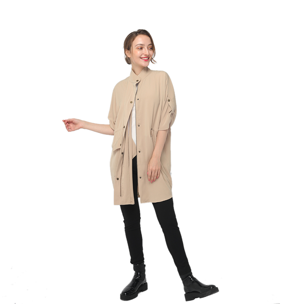 2020 China New Design Twill Fabric - 2020 modern knee length trench coat with high collar and  half sleeves women wholesale – Youchen