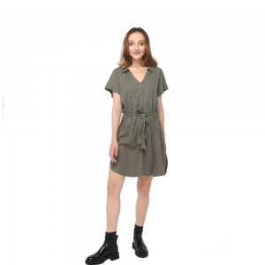 Wholesale off Shoulder Dress - 2020 modern linen front buttons fastening belted sleeveless dress women wholesale – Youchen