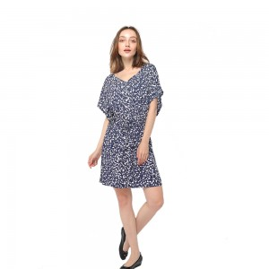 Super Lowest Price Party Dress - 2020 modern skin-friendly rayon print V-neck short sleeve belted dress women wholesale – Youchen