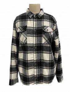 2021 modern checks shir neck short coat with chest pockects and sherpa lining women wholesale
