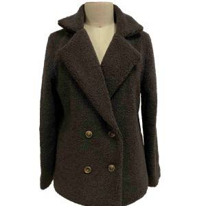 2021 modern faux shearling coat with lapel collar and long sleeves women wholesale