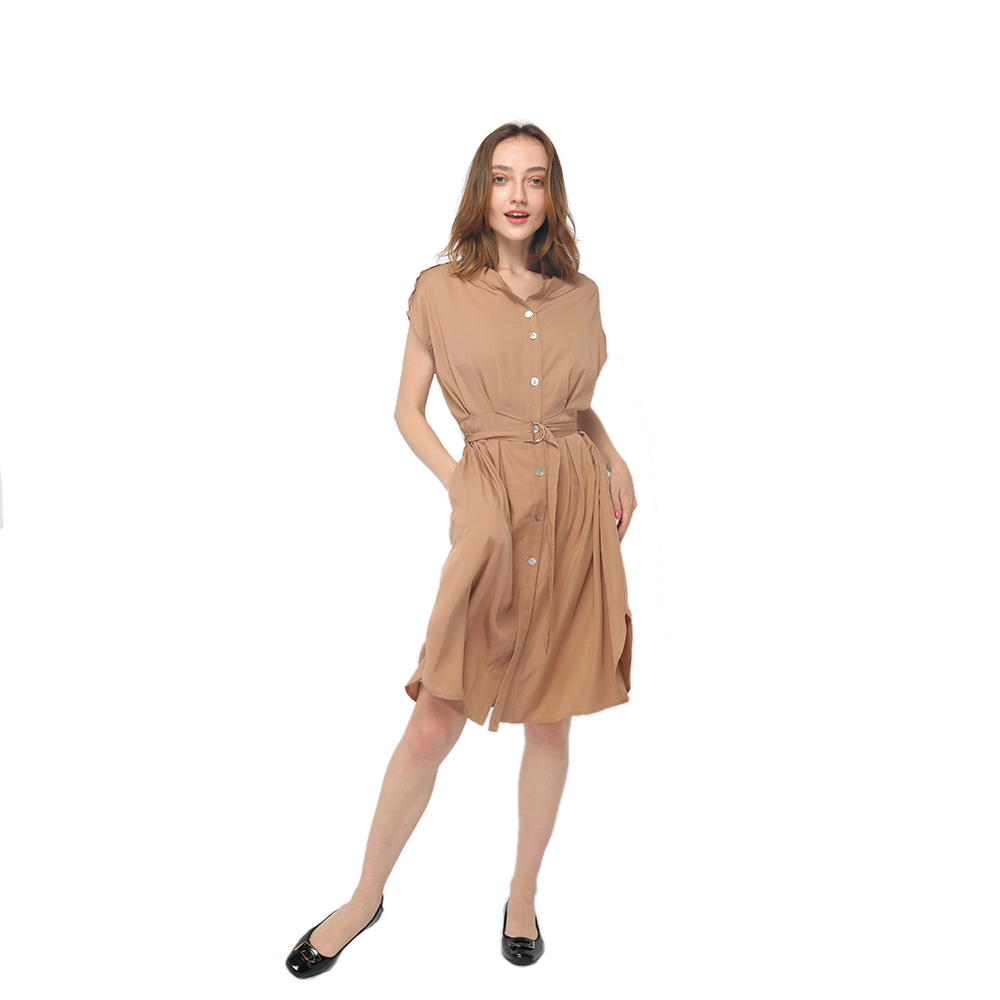 Manufactur standard Women Maxi Dress - 2020 modern front buttons fastening belted short sleeve dress women wholesale – Youchen
