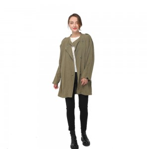 Factory Supply Gym Clothing - 2020 modern ramie trench coat with shoulder straps and long sleeves women wholesale – Youchen