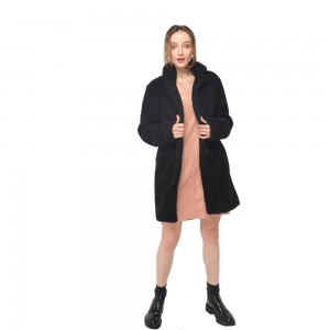 2020 modern loose fit knee length faux fur long sleeves coat wholesale