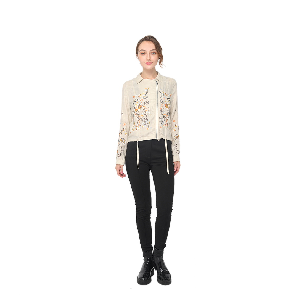 2020 China New Design Twill Fabric - 2020 modern linen embroidery shirt neck long sleeve jacket women wholesale  – Youchen