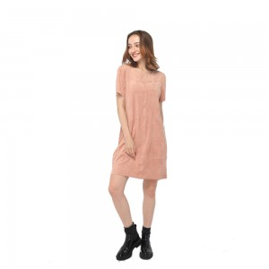 Bottom price Dress for Women - 2020 modern smooth faux suede round neck short sleeve straight dress women wholesale – Youchen