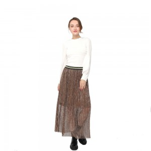 Factory Price For Pants Women - 2020 modern high waist pleated midi skirt with contrast elastic waistband women wholesale – Youchen
