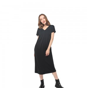 2020 modern round neck skin-friendly knitting modal short sleeve gathering dress women wholesale