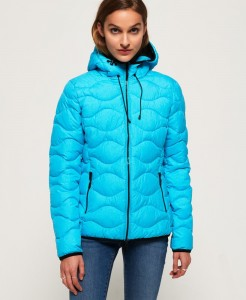 Women's padded jacket with hood in nylon fabric