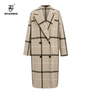 OEM Factory for Male Coat -  Luxury Simple Plaid Wool Women Double Button Long Sleeve  Office formal wear Ladies long jacket – Hengqianxiang