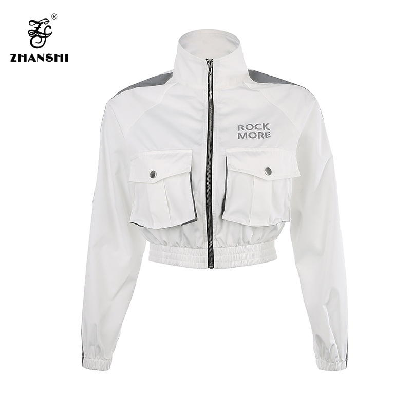 China OEM Overcoat Man With Zipper - Custom Logo 2022 Safe Reflective Strap White Loose Pocket Women Blazer Long Sleeve Female Coats Ladies Outerwear Tops – Hengqianxiang