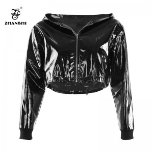 Factory source Leather Jacket Women - Black Autumn Mirror PU Women Zipper Hooded Jacket Crop Top – Hengqianxiang