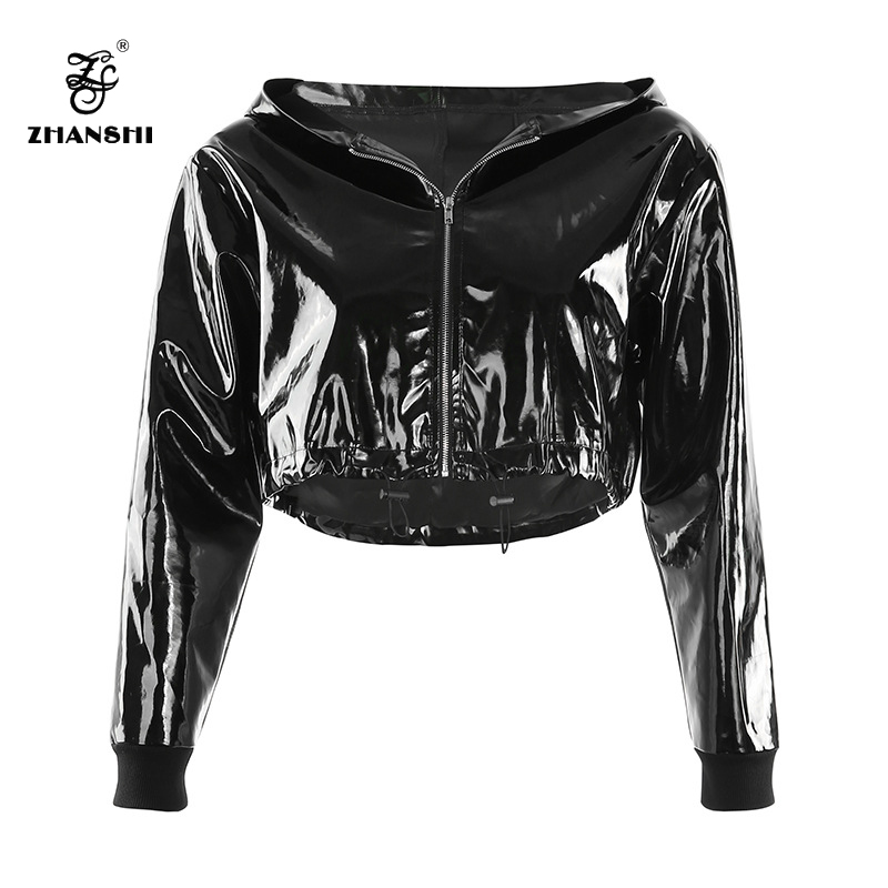 Hot-selling Parka Woman - Black Autumn Mirror PU Women Zipper Hooded Jacket Crop Top – Hengqianxiang