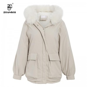Leading Manufacturer for Custom Zipper Crop Sweatshirt - Solid Hooded Warm Lantern Sleeve Women Parka Thick Pockets Female Padded Coat Autumn Winter Oversize Parkas Coats – Hengqianxiang