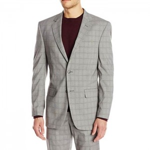 High definition Slim Fit Men Suits - Blazer Men Casual Suit Jacket men blazer Wholesale Grey Plaid slim busniess fit Wedding tuxedo men Suits – Hengqianxiang
