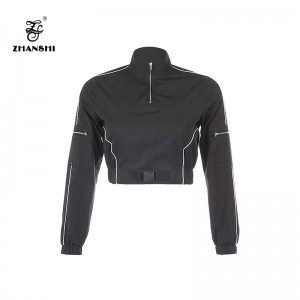 Manufacturer of Shirt Boutique Clothing - Custom Logo 2022 Black Plastic Buckle Women Blazer Long Sleeve Female Casual Pullover Coats Ladies Outerwear Crop Tops – Hengqianxiang