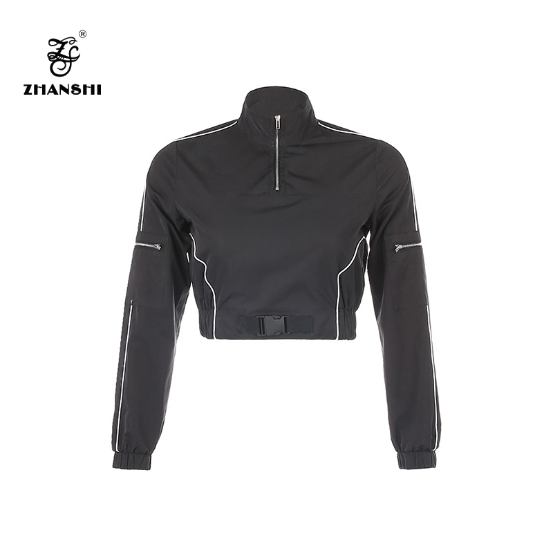 Factory For Winter Women' Outdoor Down Coat - Custom Logo 2022 Black Plastic Buckle Women Blazer Long Sleeve Female Casual Pullover Coats Ladies Outerwear Crop Tops – Hengqianxiang