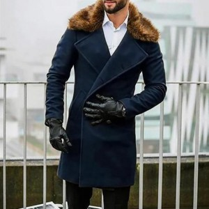 Winter Faux Fur Collar Warm Long Coats Men's Overcoat Trench Overcoat Fashio